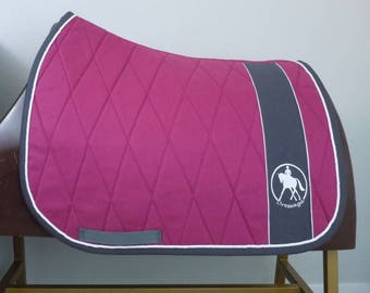 """Pink Dressage Saddle Pad with Gray Binding and White Piping fits up to 18"""" saddles"""