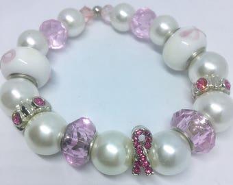 Breast Cancer Awareness Bracelet, Breast Cancer Survivor Jewelry, Survivor's Bracelet, Pink Ribbon Charm, Womens Cancer Survivor Bracelet