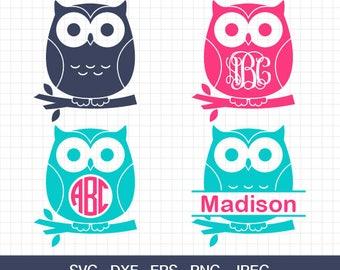 Owl Svg, Owl Monogram frames SVG, Cute Owl svg, Owl Monogram, Cute Owl, SVG Cutting Files, for Cricut & Silhouette, Svg, Eps, Dxf, Png, Jpg