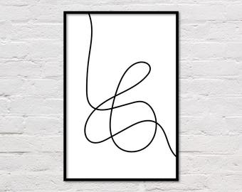 Line Art, Printable Black and White Art, Minimalist Poster, Abstract Art Print, Modern Wall Art, Geometric Art, Modern Art Poster, Download
