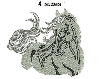 Horse 4sizes Digitized Machine Embroidery Design Digital Download