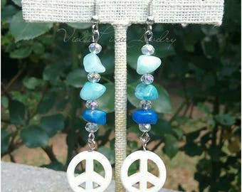 Peace sign earrings, with rock chips, and crystals.