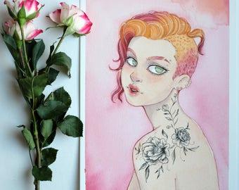 Original Watercolor Illustration - Pink