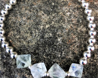Sterling silver bracelet with natural Fluorite gemstone