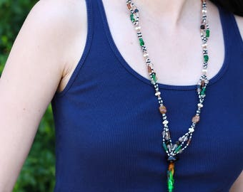 Green and Brown Beaded Tassel Necklace with Focal Bead - FJ 18