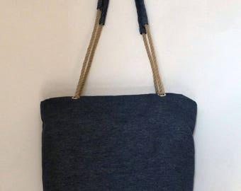 Classic denim fabric bag with nautical rope handles