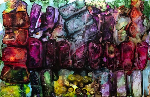 """Large Original Alcohol Ink Abstract: """"Breakthrough"""" (23"""" x 35"""")"""