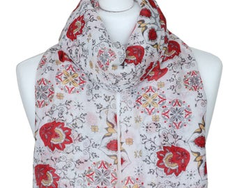 Floral Red and Off White Scarf, Mothers Day Gift ideas, Scarf, Women Gift for her, Gifts for Mother, Spring Summer Scarf, Autumn Accessories
