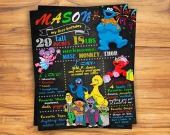 Sesame street Chalkboard Sign, Sesame street Chalkboard poster, Birthday Chalkboard Poster,Sesame street party,DIGITAL FILE Printable Poster