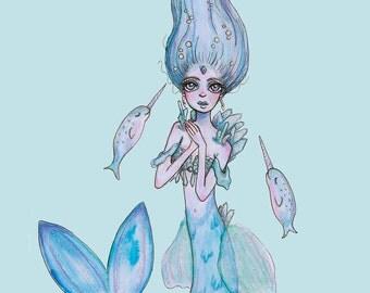 Ice Crystal Mermaid with Narwals Drawing   Fantasy Illustration