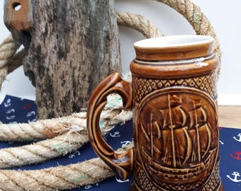 Nautical Russian Ceramic Tankard (Beer Stein)