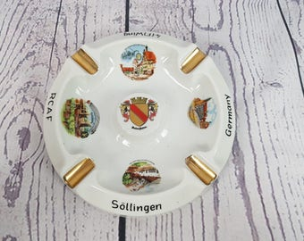 Vintage Large Germany Souvenir Ashtray Trip Vacation Cigarette Smoking Break Gift for Smoker Collectible Holiday Round Thick
