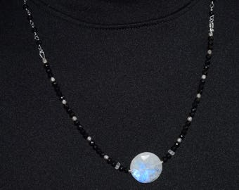 Flashy Moonstone and Black Spinel Necklace~ Statement Necklace~ Black and White Necklaces~ High End Gemstone Necklace~