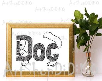 Word Dog Digital Print, Dog patterns, Funny Dogt Print, Zentangle Digital Paper, Fabric Patterns, Dog Decor Patterns, Designer Dog Print,