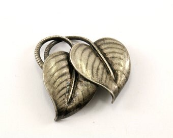 Vintage Leaf Design SK Signed Pin/Brooch 925 Sterling BB 165-E