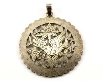 Vintage Round Bird & Floral Design Pendant 925 Sterling Silver PD 1026-E