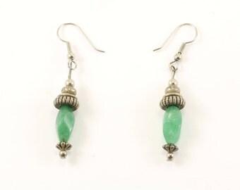 Vintage Green Quartz Drop Earrings 925 Sterling ER 243