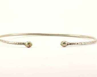 Vintage Cone Ends Plain Bangle Bracelet Sterling Silver BR 2189