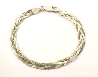Vintage Italy Braid Bracelet 925 Sterling BR 2204