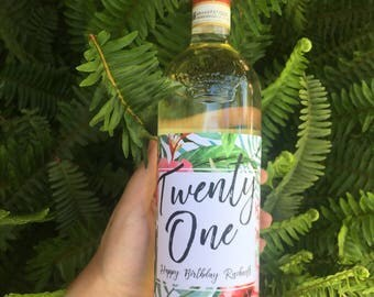Twenty One -  Custom Birthday Wine Label, Milestone Label, 21th Birthday
