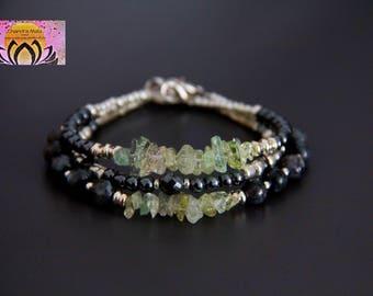 Aquamarine Hematite Labradorite Silver Bracelets-Stacking Layering Bracelets-Elegant Delicate-Boho Chic Jewelry-Clasp-Czech Bead-Gemstone
