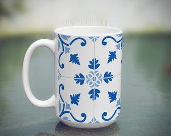 Farmhouse Style Mug, Tile Mug, Blue Tile, Fixer Upper Mug, Farmhouse Decor, Modern Farmhouse, Joanna Gaines, Coffee Mug, Custom Coffee Mug