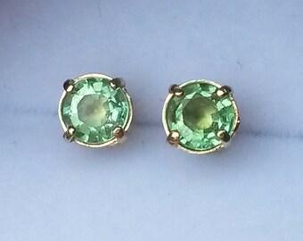 Natural Paraiba Tourmaline stud earrings in 9k gold