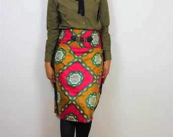 jupe wax- jupe droite-jupe mi longue