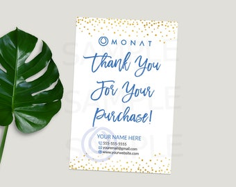Monat Thank You Cards, Monat Business Cards, Monat Marketing, Custom Thank You For your Purchase Cards, Monat Global, Gold Confetti, Blue