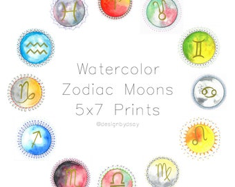Gold Symbol Watercolor Zodiac Moons 5x7 Prints