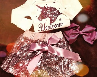 Born To Be A Unicorn 3 Piece Sequin Shorts Outfit - Color Choices Available