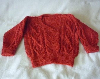Jumper Pullover Rust Red 100% Wool Age 2 years Hand Knitted