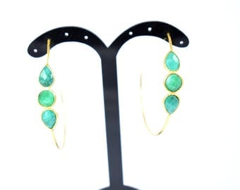 emerald earring , emerald hoop earring ,green color hoop earring,drop earring ,gold plating ,gemstone hoop earring ,Christmas gift