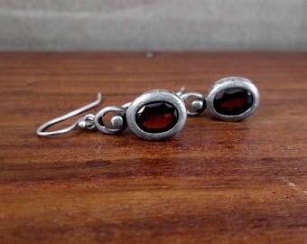 925 Sterling Silver Dark Red Glass Earrings - Vintage