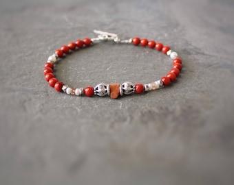 Genuine coral bracelet,Real Italian coral bracelet,coral jewelry,authentic coral bracelet , orange salmon coral bracelet ,gift for her