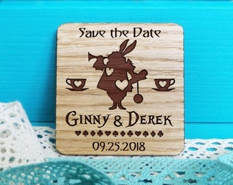 Save-the-Date-Alice in Wonderland Save the Date Magnet-Card suits Alice in Wonderland-Rustic Save the Date-Alice in Wonderland Wedding Decor