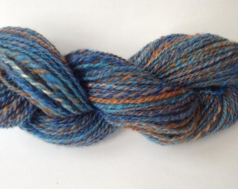 Hand Spun Yarn - Romney Wool and Silk - Light Worsted Weight 2-ply