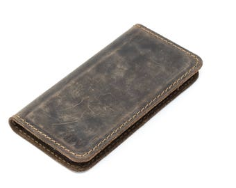 Distressed Leather iPhone Wallet, iPhone Wallet, Leather iPhone Case, Phone Wallet, Magnetic iPhone Case - McLean Chestnut brown