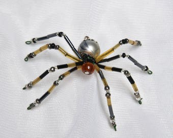 Small Black and Brown Beaded Spider