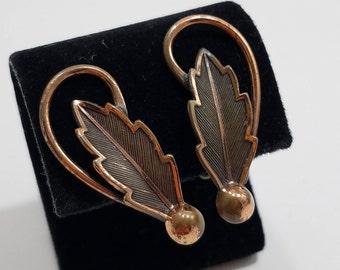 Copper Leaf Clip Earrings, by Bell Copper