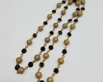 Simple & Elegant Gold Textured Bead Necklace with Jet Black Crystals