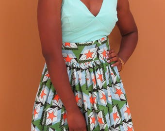 African print knee length skirt