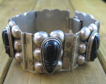 Vintage Mexico Bracelet Silver Plated Signed Black Onyx Accent 49.9 Grams Southwest