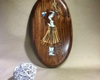 S A L E  - Vintage Inlaid Wood Plaque