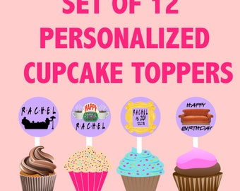 Set of 12 Friends TV Show Themed Cupcake toppers, Birthday decoration, Friends TV Show Party