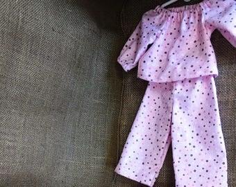Flannel Pajama Set w/Teddy Bear  - For 18 inch Doll Fits American Girl size dolls
