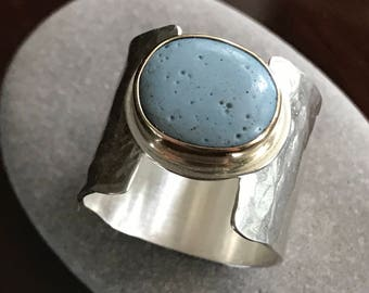 Leland Blue stone Sterling silver hammered wide band ring with 14K gold setting, made to order.