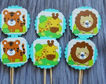Zoo Animal Aqua Cupcake Toppers, Cake Toppers with Tigers, Giraffes and Lions. Perfect for Party Decorations, Baby Shower or Kids Party