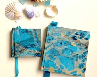 Mother Daughter Matching Set Turquoise/Gold Marbled Memory Books