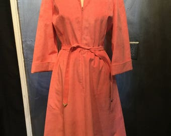 1970s pink suede dress/suede dress/pink dress/dress with belt/M